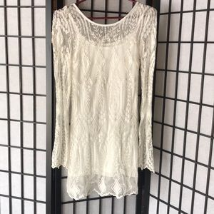 ecote white/cream lace long sleeve dress size XS